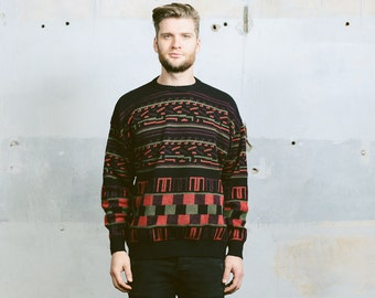 Men PATTERNED Sweater . Vintage 80s Striped Abstract Minimalist 90s Geometric Print Aztec Cosby Winter Pullover . Large XL