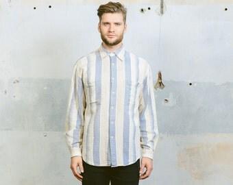 Striped Shirt . Vintage Nautical Shirt Blue White Button Down Long Sleeve Shirt Mens Minimalist Shirt Woven Hippie Shirt . sz Extra Large XL