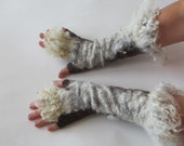 Felt fingerless gloves Hand Felted Mittens, Brown  gloves, Brown wool mittens, Cozy winter Gloves, wool arm warmer