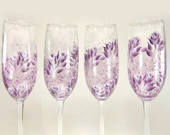 Hand-Painted Champagne Flutes - Plum White and Silver Roses, Original Artist's Design Set of 4 - Painted Stemware, Bridesmaid's Gift Ideas