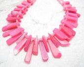 Statement Necklace [Chunky Pink Chalcedony Fringe Multi Strand Collar] HAWT
