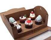 5 window kraft tote boxes for cup cake (6 hd type)