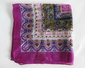 Vintage Silk Scarf Large Boho Chic Jewel Tones
