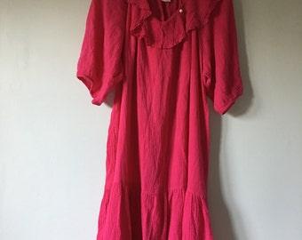 Gauze Cotton Pink Dress • Cotton Tent Dress • Free Size Flowy Dress