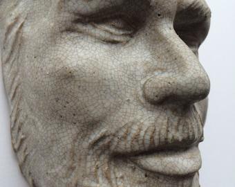 Wall hanging sculpture face, portrait of Philip K. Dick, ceramic art mask, crackle glazed bust of a man