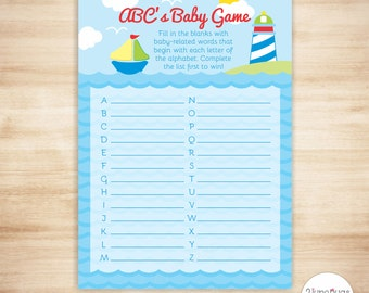 Sailboat ABC's Baby Shower Game - Sailboat Baby ABC Game - Nautical Baby Boy Shower - Lighthouse - PRiNTABLE, INSTANT DOWNlOAD
