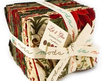 CHRISTMAS fabric Let It Glow 29 Fat Quarters Moda quilt fabric Gold Metallic red green ebony cream slate Poinsettias Sentimental Studios