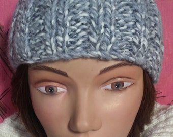 Hand Knit Variegated Gray Skull Cap One Size Fits All