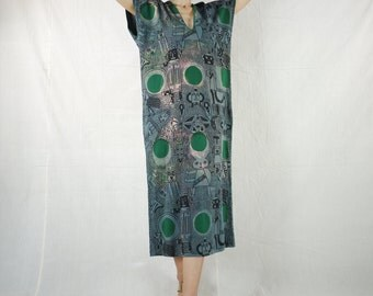 V Neck Black Robot Graphic Print Dark Forest Green Dot Print Dark Green Cotton Jersey Sundress Rectangular Dress Poncho Maxi Dress Sundress