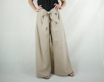 Funky Boho Hip Sand Color Cotton Mix Linen Wide Legs Front Tie Women Pants With Elastic On Back Waist - SM704