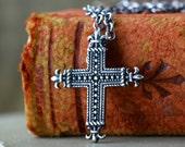 Rustic Sterling Silver Cross Necklace, Mens, Womens, Unisex, Medium Heavy 2.4mm Chain, Fleur De Lis French Cross