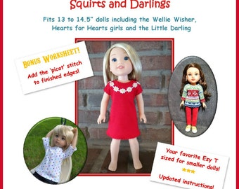 """Ezy T Squirts and Darlings  t-shirt pattern for 13 to 14.5"""" dolls such as the Wellie Wisher, H4H, Little Darling and Les Cheries"""