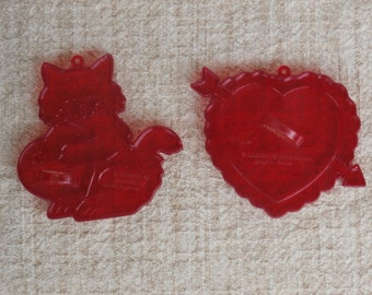 Heart and Kitten, Lot of 2 Vintage Amscan Valentine's Day Cookie Cutters, Red Plastic