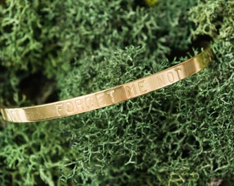 FORGET ME NOT Stamped Classic Vintage Style Brass Bangle