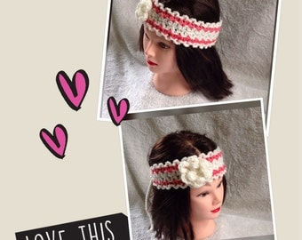 Adult Flower Headband, Boho Head Wrap, Hair Accessories, Crochet Headband