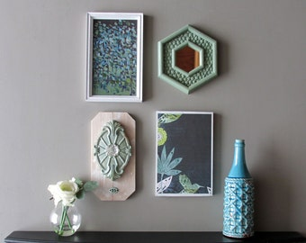 """wall art collage - """"Botanical Gateway"""" - wall art gallery - 4 pieces - cottage white"""