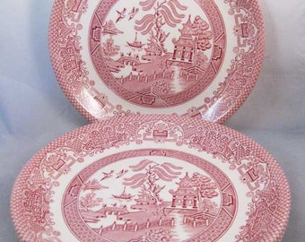 Vintage Biltons England Red/Pink Willow China Dinner Plates(4)