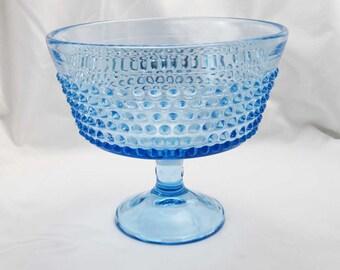 "Vintage Hobnail Pedestal Blue Compote Bowl~Candy Dish~Fruit Bowl 6"" Tall"