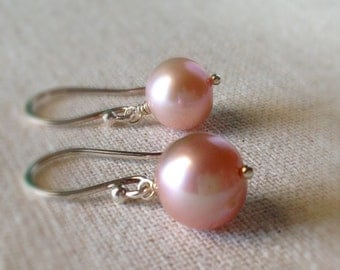 Pink Pearl Earrings, Blush Pink, Freshwater Pearl Earrings, Sterling Silver Simple Pearl Earrings, Dusty Pink Pearl Earrings, Bridesmaids