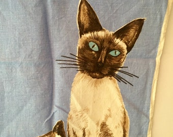 Vintage Ulster Siamese Cat and Kittens Tea Towel