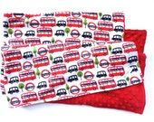 Baby Blanket - Minky Blanket - London Bus and Black Taxi Print - Warm Winter Blanket - Big Red Bus - Red Black White - Christmas Baby Gift