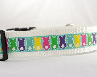 Easter Dog Collar - Bunny Parade 1.5 inch wide Dog Collar - Choose your color- buckle or martingale collar - Spring dog collar - easter dog