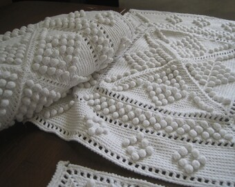 Panels of French crocheted bedspread, cover, white cotton, square.  Would make pretty cushion, pillows or throw