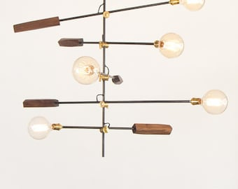 Lighting Fixture With 5 Lights and Handmade Faceted Wood Ends in Walnut, Pecan or Oak