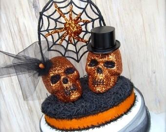Wedding Cake Topper, Goth Fall Wedding, Halloween Skeleton, Orange Black, Spider Web