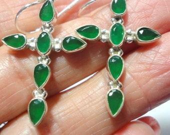 Emerald Cross Earrings Emerald Faceted Pear Gemstone Cross Earrings in Sterling Silver
