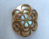 Antique Button MOP Button with Brass Overlay Unusual Button