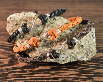 Father's Day Gift - Men's Infinity Bracelet - Sterling Silver and Deer Hide Leather