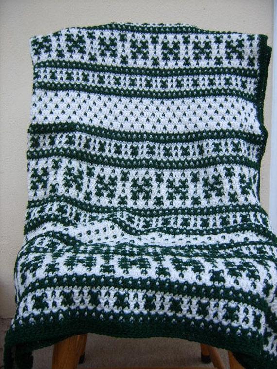Fair Isle Crochet Afghan Blanket/Green and White