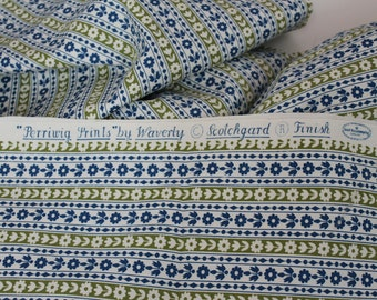 Vintage Fabric vintage cotton decor canvas fabric Vintage Waverly Perriwig Prints Calico Stripe blue olive green daisy floral stripe 5 yds