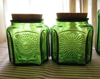 Pair Wheaton Sunflower Jars /  Canisters - Emerald Green Glass - Cork Stoppers - Great Condition -
