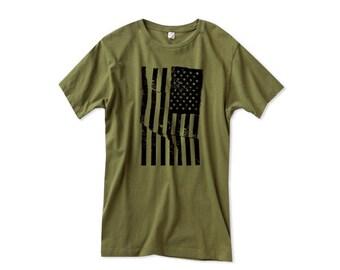 American Flag Shirt - Army Green Tshirt - 90s - Mens Flag Shirt - Grunge - S, M , L XL, 2XL