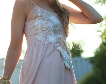 pastel pink vintage lace dress, pink boho bridesmaid dress, boho wedding, vintage lace mori girl dress, pale pink baby doll dress,