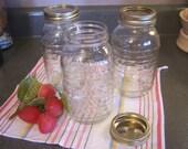 Vintage Longaberger Quart Jars, Blue Ribbon Collection, Collectible w/Lids, Clear Canning Jar
