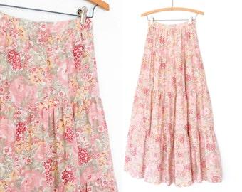 70s Maxi Skirt * Romantic Peasant Skirt * Pink Floral Skirt * XS