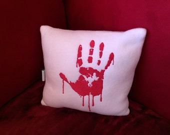 Halloween Bloody Hand Print Pillow - Horror Lover Plush Mini Pillow - Decorative Throw Pillow Plush