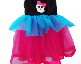 Monster Tutu Dress: black pink and turquoise, birthday party, costume, special occasion, adjustable, turquoise and hot pink, monster high
