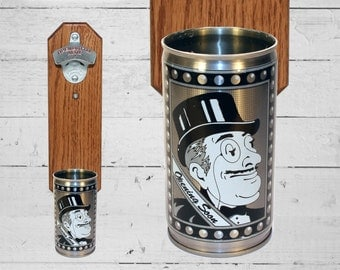 Beer Gift Olde Frothingslosh Movie Buff Wall Mounted Bottle Opener with Vintage Beer Can Cap Catcher - Gift for Groomsmen