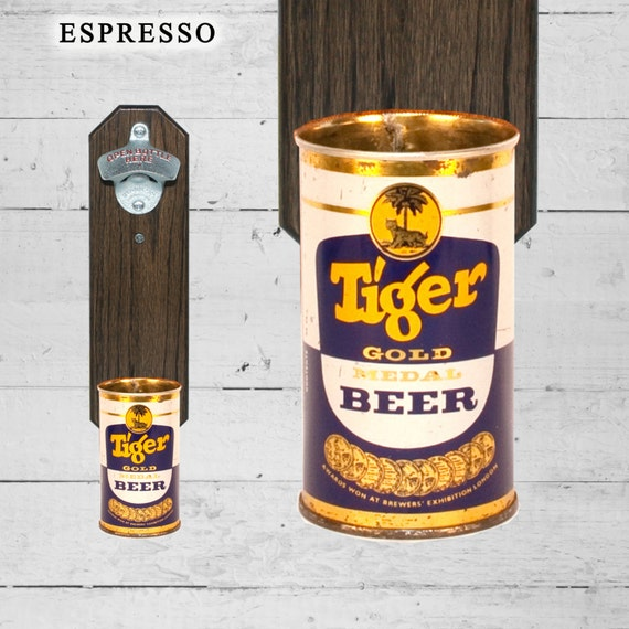 Tiger Gold Wall Mounted Bottle Opener with Vintage Singapore Beer Can Cap Catcher Malayan Breweries