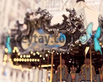 Carousel in Bryant Park, New York City Print, Blue, Gold, Beige, Baby Neutral Nursery Decor, New York Photography