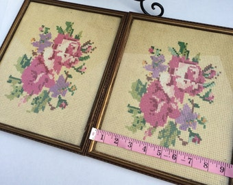 Handmade Cross Stitched Country Cottage Roses Twin Prints