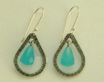 Blue quartz earrings, gemstone earrings, Hammered sterling silver earrings, dangle earrings, drop earrings,  bridal jewelry - Vision E7880-5