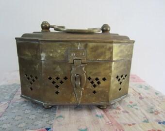Large Vintage Brass Cricket Box Beautiful Details Hinged Trinket Box