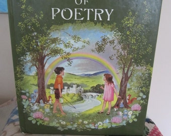 Vintage Childrens Book Hilda Boswell's Treasury of Poetry 1968 Beautiful Illustrations