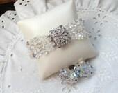 RESERVED for Debra- Aurora Borealis Bracelet and Earring Set, Multi-Strand Bracelet, Vintage Clip Earrings, Wedding, Jewelry Gift for Her