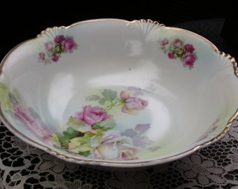 Germany Bavaria Vintage Bowl, Early 1900's, Antique Plate, Green with Dark Pink Rose, Shabby Chic